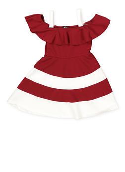Girls 4-6x Color Block Off the Shoulder Skater Dress - 1614038340285