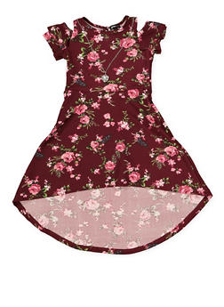 Girls 4-6x Floral Skater Dress with Necklace - 1614038340286