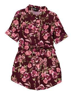 Girls 4-6x Belted Floral Shirt Dress - 1614038340290