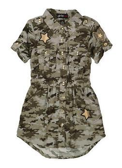 Girls 4-6x Camo Shirt Dress - 1614038340292