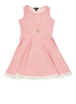 Girls 4-6x Striped Crochet Trim Skater Dress with Necklace - 1614038340317