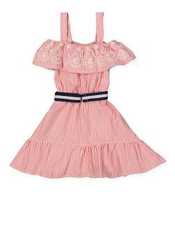 Girls 4-6x Eyelet Ruffle Cold Shoulder Striped Dress - 1614038340321