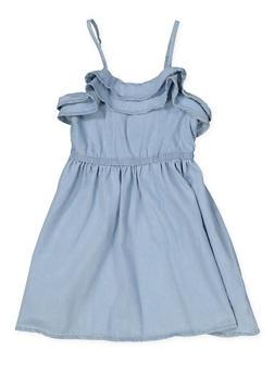 Girls 4-6x Ruffled Denim Skater Dress - 1614038340324