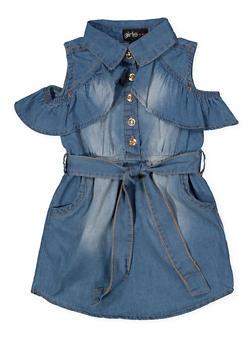 Girls 4-6x Ruffled Cold Shoulder Denim Dress - 1614038340326