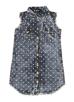 Girls 4-6x Polka Dot Chambray Shirt Dress - 1614038340327
