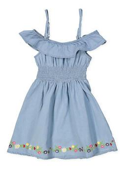 Girls 4-6x Floral Embroidered Trim Off the Shoulder Dress - 1614038340328