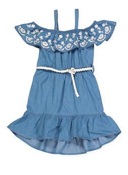 Girls 4-6x Belted Off the Shoulder Denim Dress - 1614038340330