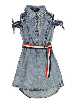 Girls 4-6x Belted Denim Skater Dress - 1614038340332