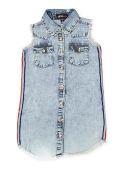 Girls 4-6x Striped Tape Frayed Denim Dress - 1614038340333