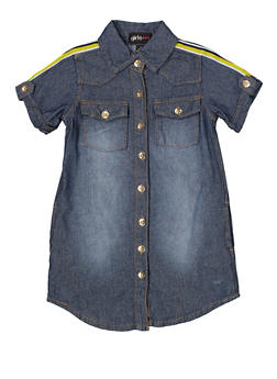 Girls 4-6x Striped Tape Denim Shirt Dress - 1614038340335