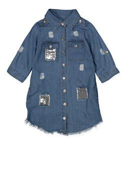 Girls 4-6x Reversible Sequin Distressed Denim Dress - 1614038340337