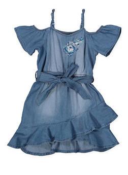 Girls 4-6x Denim Ruffle Hem Skater Dress - 1614038340338