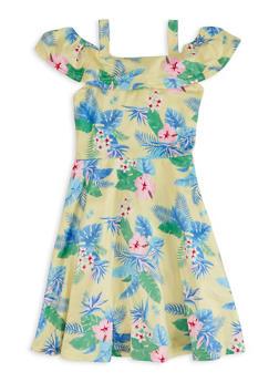 Little Girls Tropical Print Cold Shoulder Dress - 1614038340356