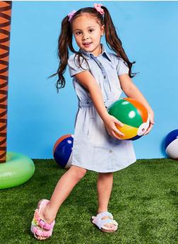 Little Girls Denim Shirt Dress with Scrunchies - 1614038340372