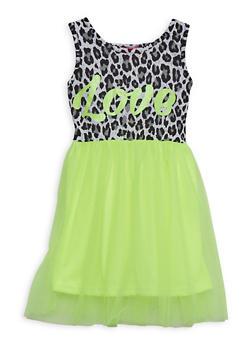 Girls 4-6x Love Tulle Skirt Skater Dress - 1614048370003