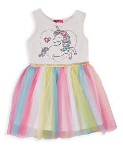 Girls 4-6x Unicorn Studded Skater Dress - 1614048370005