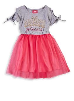 Girls 4-6x Princess Cold Shoulder Skater Dress - 1614048370006