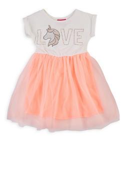 Girls 4-6x Love Unicorn Studded Skater Dress - 1614048370007