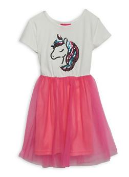 Girls 4-6x Sequin Unicorn Skater Dress - 1614048370048