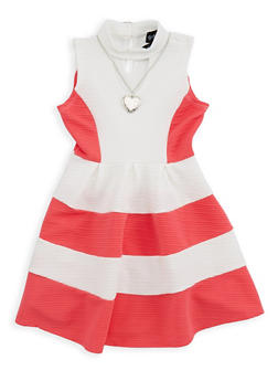 Girls 4-6x Textured Knit Skater Dress with Necklace - 1614051060094