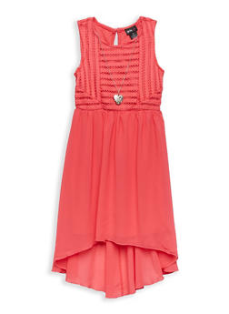 Girls 4-6x High Low Skater Dress with Necklace - 1614051060096