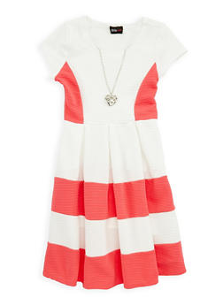 Girls 4-6x Color Block Skater Dress with Necklace - 1614051060098