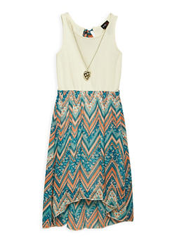 Girls 4-6x Printed High Low Dress with Necklace - 1614051060102