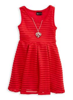 Girls 4-6x Shadow Stripe Skater Dress with Necklace - 1614051060106