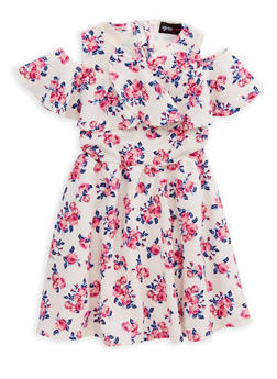 Girls 4-6x Floral Cold Shoulder Skater Dress - 1614051060124