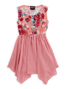 Girls 4-16 Floral Skater Dress with Necklace - 1614051060125