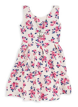 Girls 4-6x Floral Skater Dress with Necklace - 1614051060131