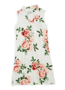 Girls 4-6x Floral Keyhole Tank Dress - 1614051060132