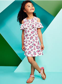 Girls 4-6x Floral Cold Shoulder Dress with Necklace - 1614051060134