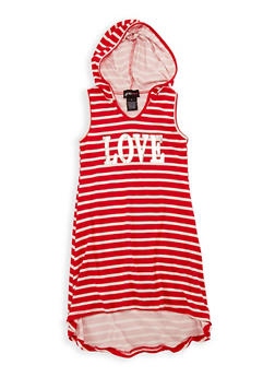 Girls 4-6x Striped Graphic Hooded Dress - 1614051060140