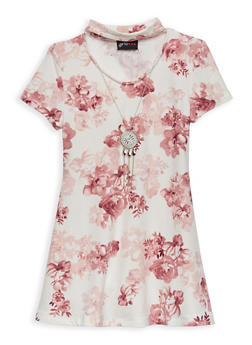 Girls 4-6x Floral Shift Dress with Necklace - 1614051060142
