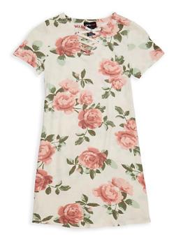 Girls 4-6x Floral Lace Up T Shirt Dress - 1614051060146