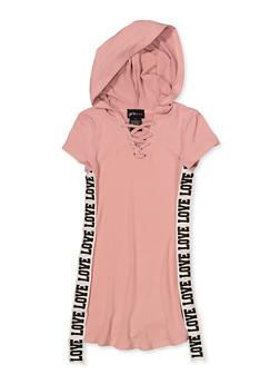 Girls 4-6x Love Tape Hooded T Shirt Dress - 1614051060153