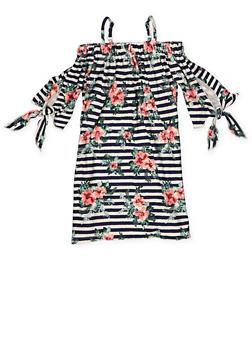 Girls 4-6x Striped Off the Shoulder Shift Dress - 1614051060155