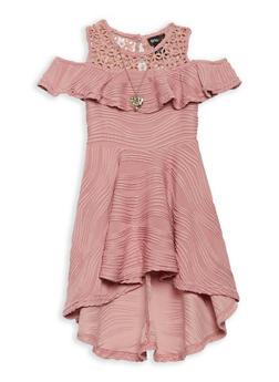 Girls 4-6x Ruffled Cold Shoulder Skater Dress - 1614051060160
