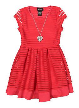 Girls 4-6x Shadow Stripe Skater Dress with Necklace - 1614051060161