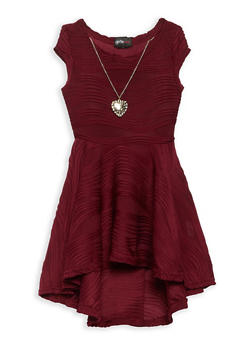 Girls 4-6x Skater Dress with Necklace - 1614051060162