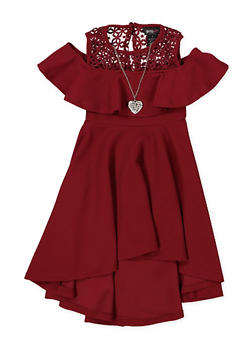 Girls 4-6x Textured Knit Skater Dress with Necklace - 1614051060164