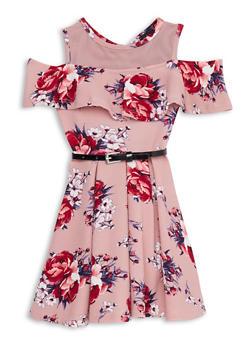 Girls 4-6x Belted Floral Skater Dress - 1614051060165