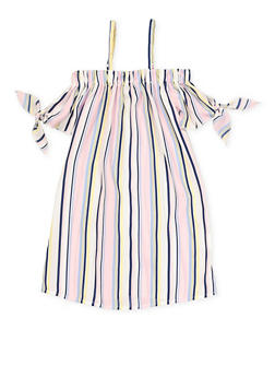 Girls 4-6x Striped Tie Sleeve Off the Shoulder Dress - 1614051060170