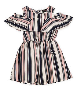 Girls 4-6x Striped Cold Shoulder Dress | 1614051060171 - 1614051060171