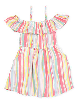 Girls 4-6x Striped 2 Pocket Off the Shoulder Dress - 1614051060172