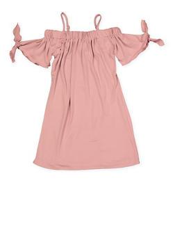 Girls 4-6x Off the Shoulder Tie Sleeve Dress - 1614051060175