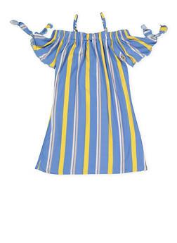 Girls 4-6x Striped Off the Shoulder Tie Sleeve Dress - 1614051060176