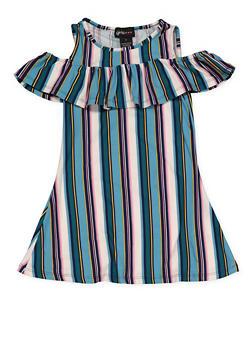 Girls 4-6x Striped Cold Shoulder Dress - 1614051060177