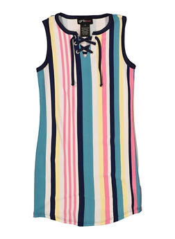 Girls 4-6x Multi Stripe Lace Up Tank Dress - 1614051060178